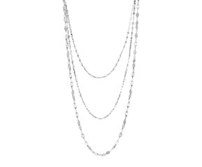 Sterling Silver Three Strand Marina Link Necklace