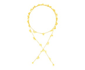 14K Yellow Gold Station Tie Necklace with Polished Circles