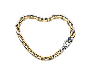 14k Two Tone Gold 7 1/2 inch Oval Link Bracelet with Sapphire