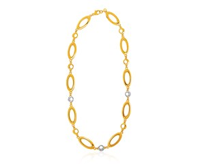 14k Yellow Gold and Diamond Oval and Crescent Moon Link Necklace (1/10 cttw)