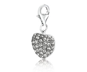 Heart Shaped Charm with White Tone Crystal Accents in Sterling Silver
