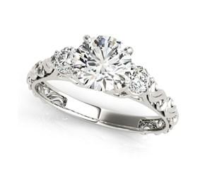 14K White Gold Antique Design 3 Stone Round Diamond Engagement Ring (1 3/4 ct. tw.)
