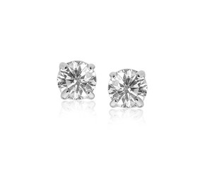 8.0mm Round CZ Stud Earrings in 14k White Gold