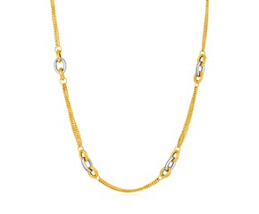 14k Two-Tone Yellow and White Gold Gourmette Necklace with Links
