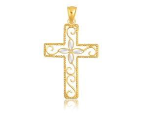 Floral Filigree Style Cross Pendant in 14k Two-Tone Gold