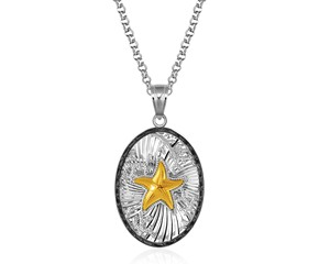 Oval Starfish Pendant with Black Crystal in Sterling Silver and 14K Yellow Gold