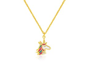 14k Yellow Gold Childrens Necklace with Enameled Unicorn Pendant