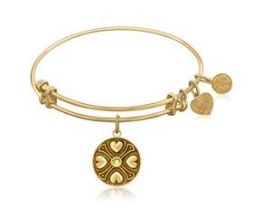 Expandable Yellow Tone Brass Bangle with Peridot August Symbol