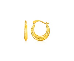 14k Yellow Gold Textured Petite Hoop Earrings