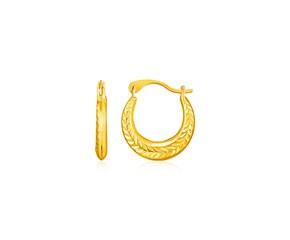 14k Yellow Gold Textured Petite Hoop Earrings