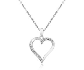 Diamond Studded Twist Open Heart Pendant in Sterling Silver (.04 cttw)