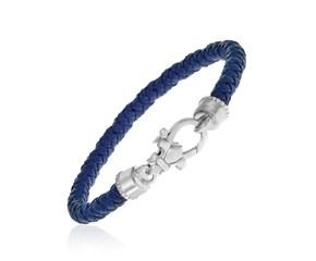 Dark Blue Tone Woven Leather Bracelet in Sterling Silver