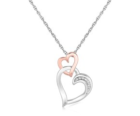 Dual Cascading Heart Diamond Embellished Pendant in Sterling Silver (.02 cttw)