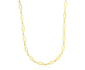 Marquis and Tiny Round Link Necklace in 14k Yellow Gold