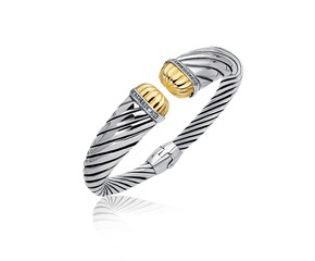 Diamond Accented Tapered Stye Cable Open Cuff in 18k Yellow Gold and Sterling Silver (.11 cttw)