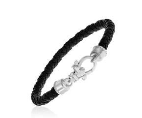 Black Tone Woven Leather Bracelet in Sterling Silver