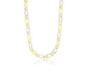 Fiagro Style Multi-Size Link Necklace in 14k Two-Tone Gold