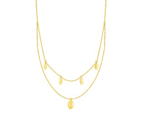 14k Yellow Gold Two Strand Necklace with Oval Drops
