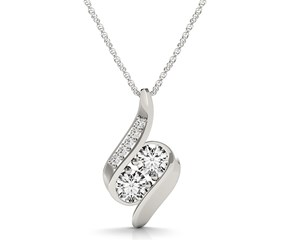 Two Stone Fancy Curve Pendant in 14k White Gold (3/4 cttw)