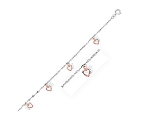 Dual Heart Charm Anklet in 14K White and Rose Gold