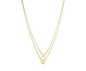 "14k Yellow Gold Double-Strand Chain Necklace with""X"" and""O"""