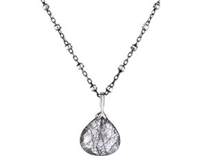 Black Rutile Pendant with Black Finish in Sterling Silver