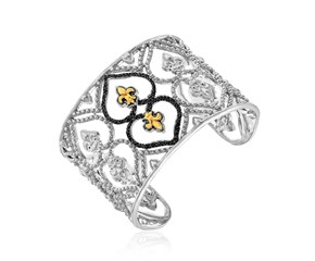 Black Diamond Accented Byzantine Style Cuff in 18k Yellow Gold and Sterling Silver