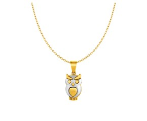 Owl Pendant in 10k Two Tone Gold