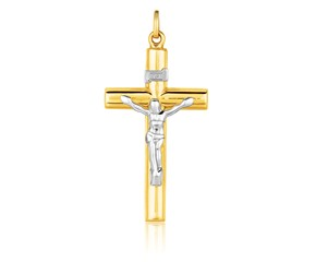 Two Tone Cross Pendant in 14k Gold