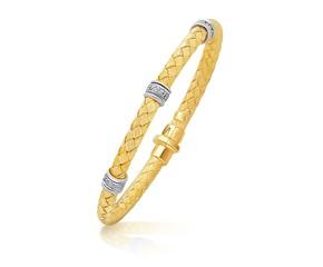 Rondelle Diamond Station Basket Weave Bracelet in 14k Two-Tone Gold