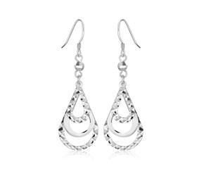 Cascading Triple Open Teardrop Textured Dangling Earrings in Sterling Silver