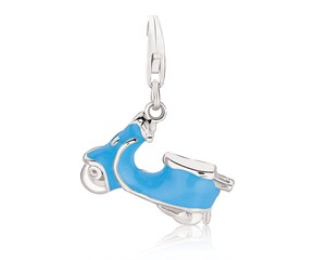 Scooter Charm with Blue Enamel Coating in Sterling Silver