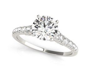 14K White Gold Round Diamond Engagement Ring With Single Row Graduated Band (1 3/4 ct. tw.)