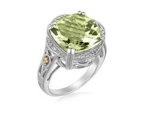 Green Amethyst and Diamond Adorned Fleur De Lis Cushion Ring in 18K Yellow Gold and Sterling Silver (.09 ct. tw.)