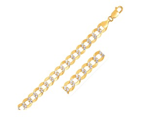 Pave Curb Chain in 14k Two Tone Gold (10 mm)