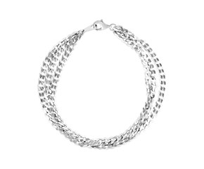 Sterling Silver Three Strand Polished Link Bracelet
