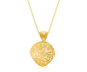 Mesh Wire Leaf Motif Pendant in 14k Yellow Gold