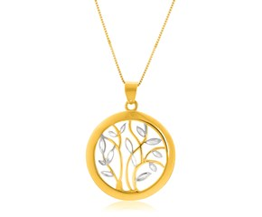 Tree Motif Open Ring Pendant in 14k Two-Tone Gold