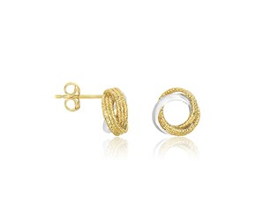 Textured and Polished Interlaced Circle Earrings in 14k Two-Tone Gold