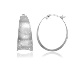 Concave Graduated Oval Hoop Earrings in Sterling Silver