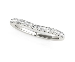 14k White Gold Pave Set Round Curved Wedding Band (1/4 cttw)