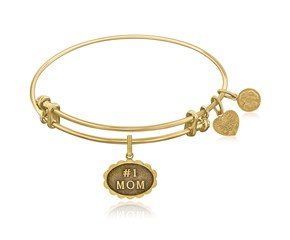 Expandable Yellow Tone Brass Bangle with #1 Mom Symbol