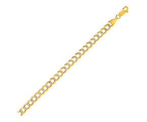 Pave Curb Bracelet in 14k Two Tone Gold (5.7mm)