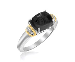 Polished Oval Onyx Ring in 18K Yellow Gold and Sterling Silver
