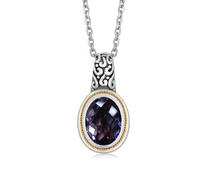 Oval Pink Amethyst Pendant Necklace in 18k Yellow Gold and Sterling Silver