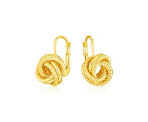 14k Yellow Gold Textured Love Knot Earrings