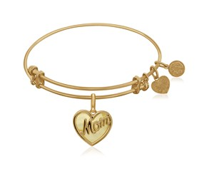 Expandable Yellow Tone Brass Bangle with Mom and Mother of Pearl