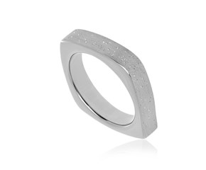 Square Style Diamond Dust Ring in Sterling Silver