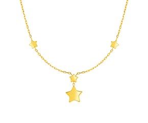 14k Yellow Gold Necklace with Polished Stars