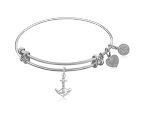 Expandable White Tone Brass Bangle with Anchor Symbol
